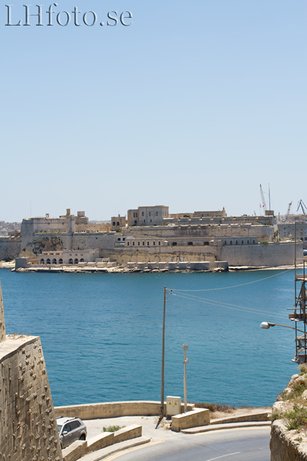 Utsikt från Valletta mot Fort St Angelo, Vittoriosa